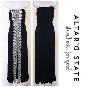 NWT Altar'd State navy maxi dress white embroidery